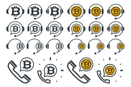 Headphones icons with bitcoins. Financial support vector icons.  イラスト・ベクター素材