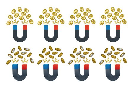 Magnets pulling currencies toward itself. Financial concept design.