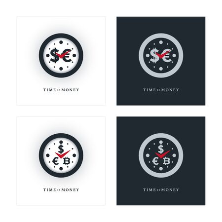 Clock icons with various currencies. Money and time concept design.  イラスト・ベクター素材