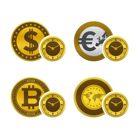 Currencies and clock faces. Money and time concept design. 版權商用圖片 - 137323299