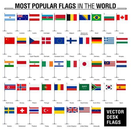 Die beliebtesten Flaggen der Welt. Flache Schreibtischflaggen auf weißem Hintergrund.