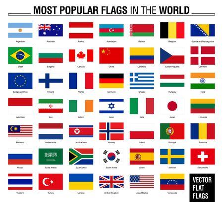 Die beliebtesten Flaggen der Welt. Flaggen auf weißem Hintergrund.
