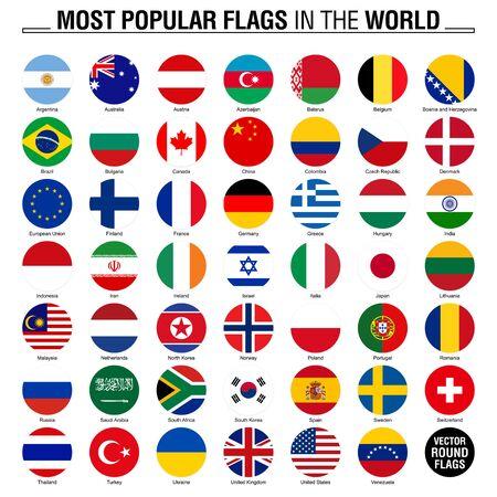 Le bandiere più popolari al mondo. Bandiere rotonde su sfondo bianco.