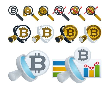 Magnifying glass and bitcoins. Financial analyzing icons on white background.