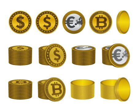 Dollar euro bitcoin gold coins. Currency vector icons.