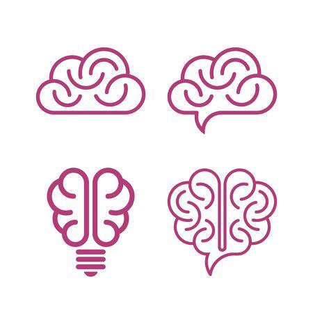 Brain symbols on white background. Creative idea icons. Çizim