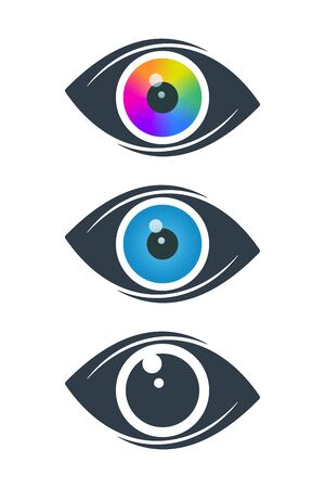 Abstract eye symbols with colorful eyeballs on white background. Vision icon design. Çizim