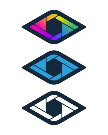 Diamond shaped shutter symbols. Vision and media icon design.