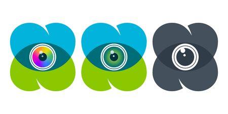 Globos oculares coloridos sobre símbolos de corazón superpuestos. Iconos de vector de visión. Ilustración de vector