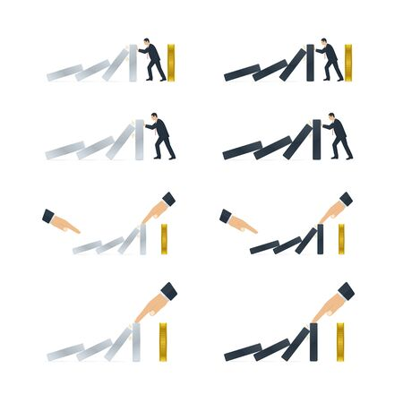 Hand and businessman trying to stop domino effect. Domino effect icons on white background. Çizim