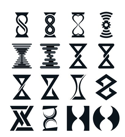 Various hourglass on white background. Abstract hourglass vector design.