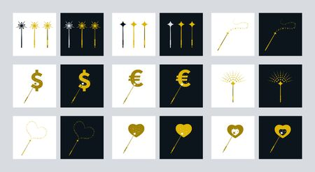 Magical equipments vector design. Magic wands icons with various theme.
