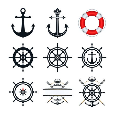 Anchor, ship wheel, captains hat oar, and life buoy icons design. Nautical icons on white background. Illusztráció