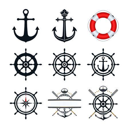 Conception d'icônes d'ancre, de roue de navire, de chapeau de capitaine et d'icônes de bouée de sauvetage. Icônes nautiques sur fond blanc. Vecteurs