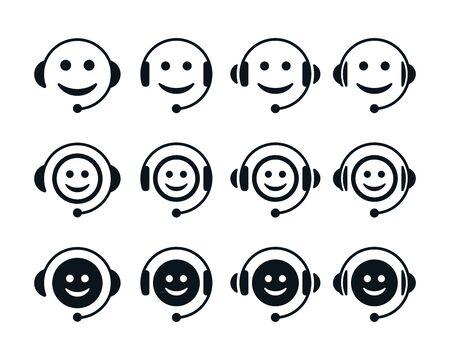 Symboles d'émoticônes sur fond blanc. Icônes plates du centre d'appels.