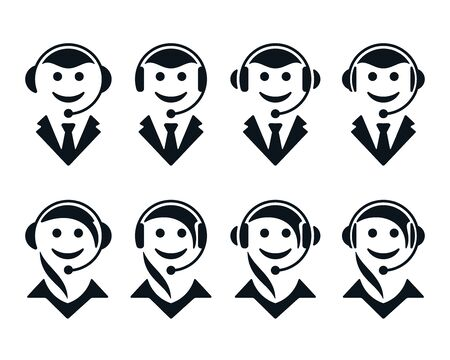 Call center operator symbols on white background. Support flat icons. Illustration