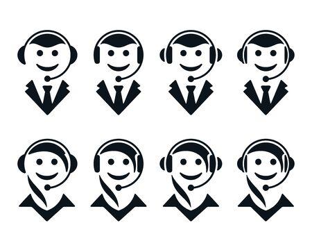 Call center operator symbols on white background. Support flat icons. Archivio Fotografico - 137323538