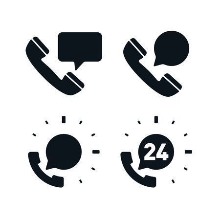 Support phones with speech bubbles on white background. Flat vector support icons. Illustration