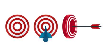 Target vector icons on white background. Arrow reached target.