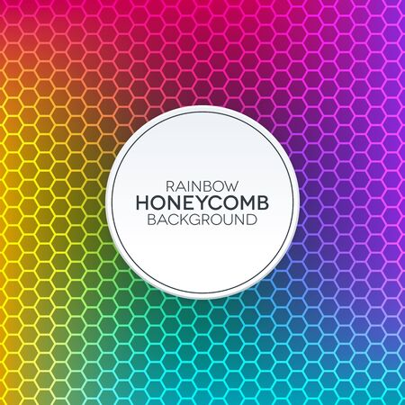 Colorful gradient background with honeycomb texture. Rainbow background with white round label.
