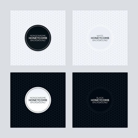 Black and white backgrounds with honeycomb textures and round labels. Monochrome abstract background set.