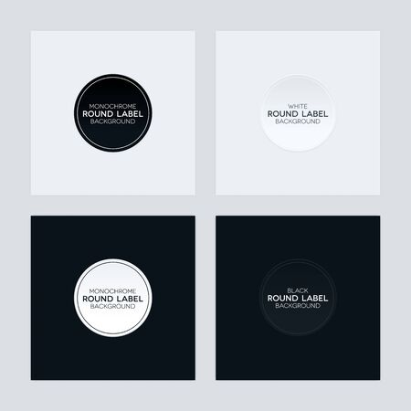 Monochrome abstract background set. Black and white backgrounds with round labels.