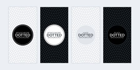 Black and white banners with circular dotted textures. Monochrome banner set.