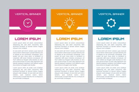 Infographic banners with different color options. Vertical banner set. Иллюстрация