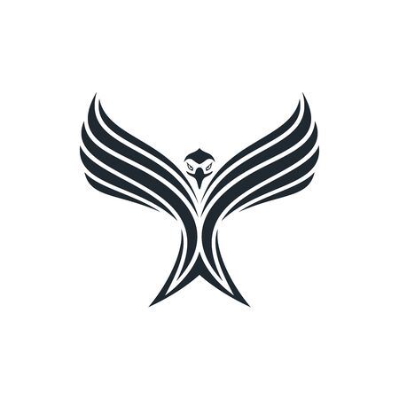 Eagle spread its wings and rising into sky. Eagle icon with stripes. Ilustração