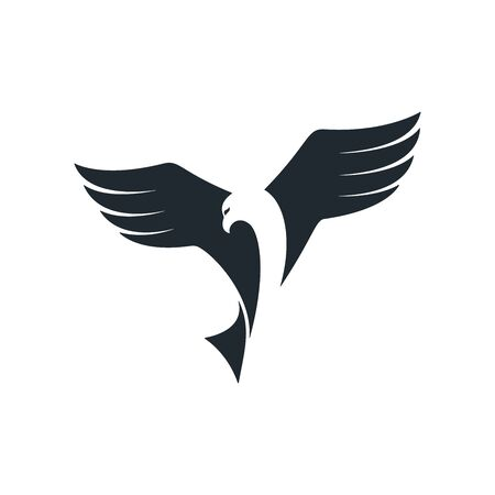 Eagle gliding through sky and looking looking for prey. Eagle vector icon.