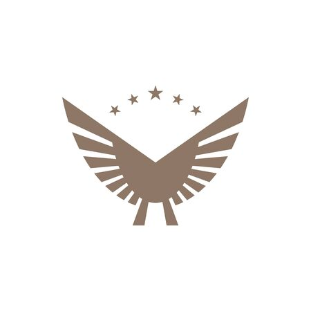 Gold colored wings on white background. Abstract wings and star shapes.