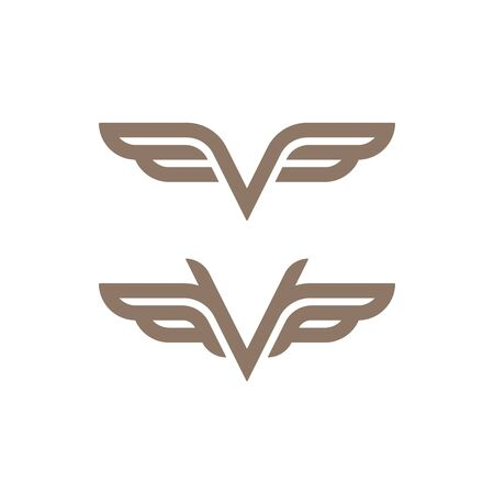 Gold colored wings outline icons. Abstract luxury logo template.