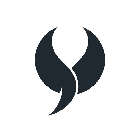 Round wings with tail on white background. Abstract wings icon.