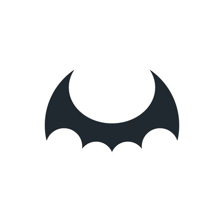 Black bat wings on white background. Dragon wings icon.