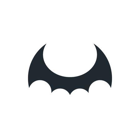 Black bat wings on white background. Dragon wings icon. Ilustração