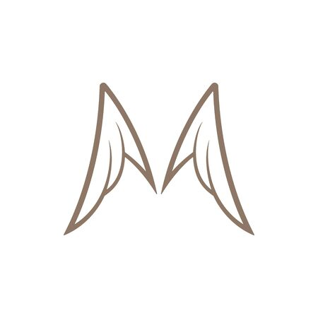 Gold colored angel wings template on white background. Luxury wings icon.