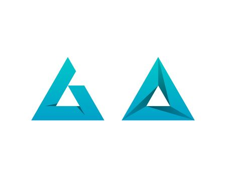 Letters A in delta form. Triangular vector icons. Abstract logo designs.