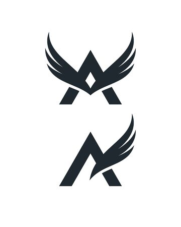 Letter A symbols with wings on white background. Abstract logo designs.