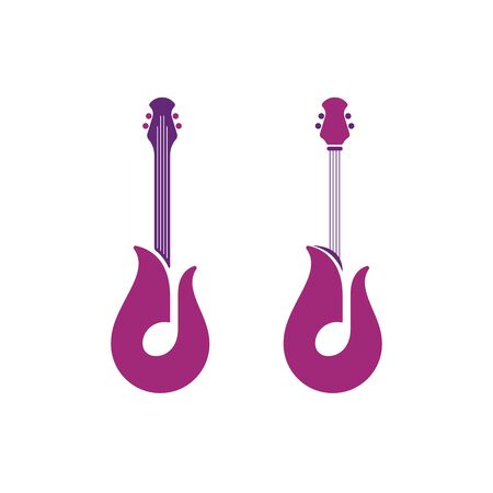 Tulip shaped guitar symbols with notes. Abstract musical instruments icon design.