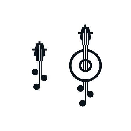 Miniature guitar fretboard symbols. Abstract musical instruments icon design.