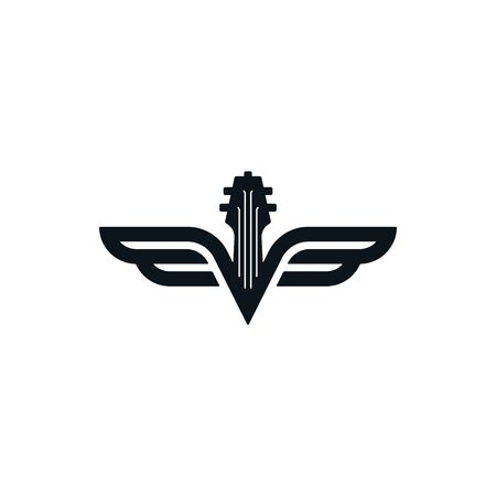 Fretboard symbol with wings. Close up guitar icon. Luxury musical instruments logo template.