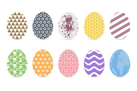 Pastel colored easter eggs on white background. Flat patterned egg icon set.