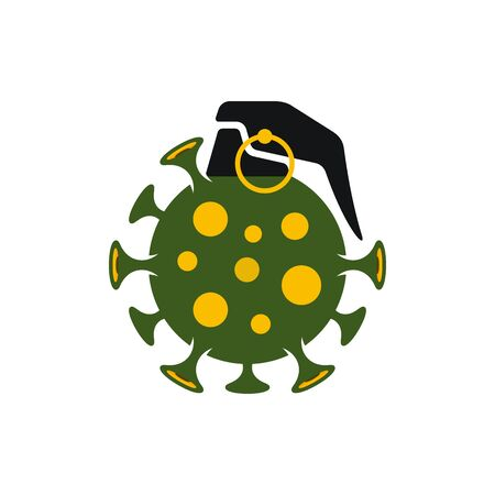 Covid-19 grenade bomb vector icon. Bomb shaped spotted Coronavirus symbol on white background. Illustration