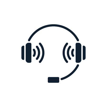 Headphones and volume icon on white background. Flat vector headphones design.