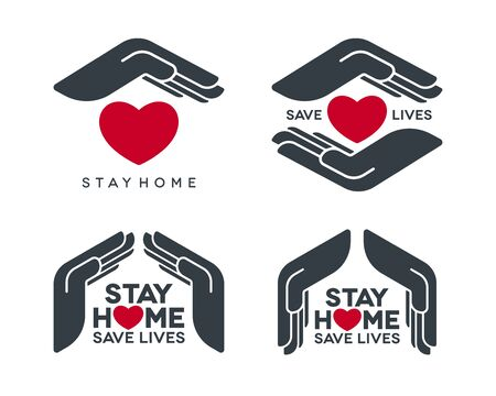 Stay home save lives coronavirus pandemic concept design. Social isolation vector icons set with protective hands symbol on white background.