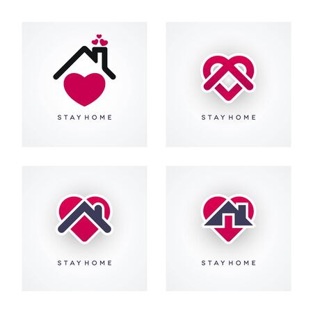 Stay home coronavirus pandemic concept design. Covid-19 epidemic social isolation icon set with abstract heart shapes.