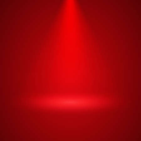 Spotlight illuminates red interior downwards. Transparent stage spotlight illumination background.