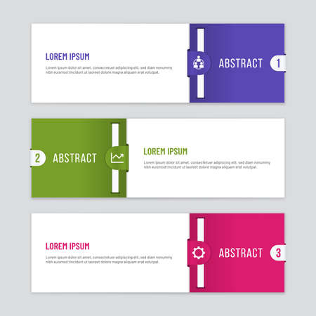Infographic template with two parts and three steps. Colorful horizontal banners with clip shapes.