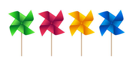Pinwheel vector icons in various colors. Weather vane symbols on white background. Çizim