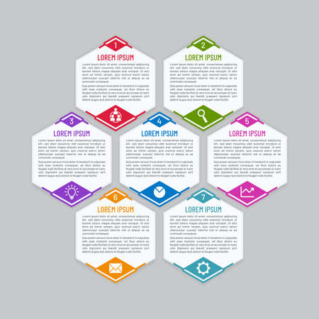 Infographic vector template with honeycomb shapes. Colorful hexagonal banner design. 일러스트
